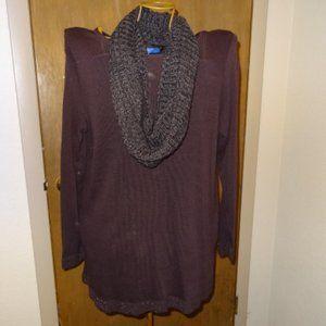 New Apt. 9 Plum Long Sleeve Sweater Tunic w/Scarf